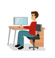 businessman at the desk vector image