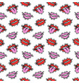 cartoon lips patches seamless pattern vector image