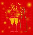 champagne bottle two glasses and sparkler vector image vector image