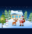 christmas background with santa claus and deer vector image vector image