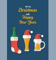 christmas beer ale mug with decoration vector image vector image