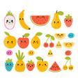 cute hand drawn kawaii tropical smiling fruit vector image