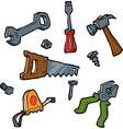 doodle set of tools vector image