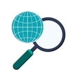 earth globe diagram and magnifying glass icon vector image vector image