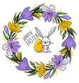 easter invitation with floral wreath bunny egg vector image