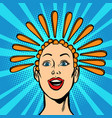 exclamation point hair on head woman and the vector image