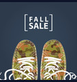 fall sale banner with camo shoes on denim backdrop vector image vector image