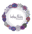floral frame with bouquets of hand drawn vector image