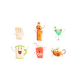 funny drinks cartoon characters collection tea vector image vector image