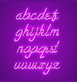 glowing purple neon lowercase script font vector image vector image