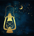 golden magic oil lantern over night sky with stars vector image