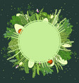 green vegetables background template vector image vector image