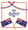 happy australia day poster with crossed flags vector image vector image