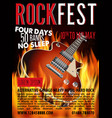 hard rock festival poster with guitar vector image vector image