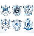 heraldic coat of arms created with vintage vector image vector image