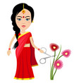 indian woman with flowers on white background vector image vector image