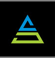 letter as triangle logo on black background vector image vector image
