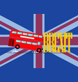 london city bus crashing with brexit word on vector image