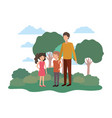 man with children in landscape avatar vector image vector image