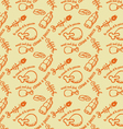 Meat and fish pattern orange vector image vector image