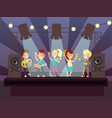 music show with kids band playing rock on stage vector image vector image