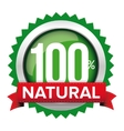 Natural badge with red ribbon vector image