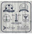 Nautical and seafood labels set vector image vector image