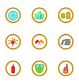 Paintball accessories icons set cartoon style