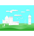 paper art style design city town and house vector image vector image