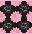 pink flowers on a black background in combination vector image vector image