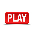 Play red 3d square button isolated on white vector image
