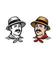 portrait happy farmer or gardener logo farm vector image vector image