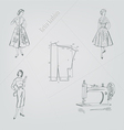 retro fashion on a gray background vector image vector image