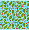seamless floral pattern with holly vector image