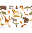 seamless pattern with african savanna animals vector image vector image