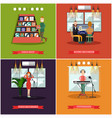 set of radio posters banners in flat style vector image