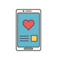 smartphone chat love romance social media icon vector image
