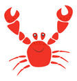 smiling red crab with raised claws sea animal vector image vector image