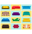 sofa icon set colored collection vector image vector image