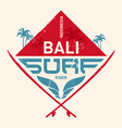 Surfing vintage lable with waves palm and vector image vector image