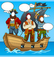 tantamaresque pirates on boat pop art vector image vector image