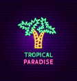 tropical paradise neon label vector image vector image