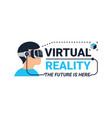 virtual reality logotype vector image vector image