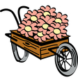 Wheel barrel flowers vector image