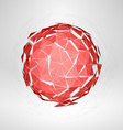 Wireframe polygonal element Explosion of Red 3D vector image