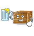 with juice crate mascot cartoon style vector image