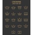 Crown line icon set vector image