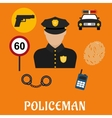 Policeman in uniform with police icons vector image