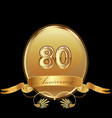 80th golden anniversary birthday seal icon vector image