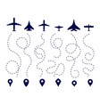 aircraft routes plane direction trail flight vector image